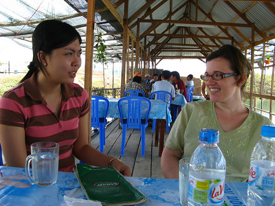 Sara chatting with our young guide for the day