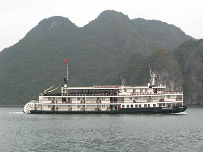 A large steamboat ferry was an unusual site on the bay