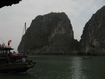 The rock islands at Halong Bay