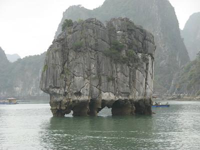 Limestone islands worn away by the water