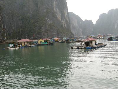 The floating neighborhoods of fishermen in the bay