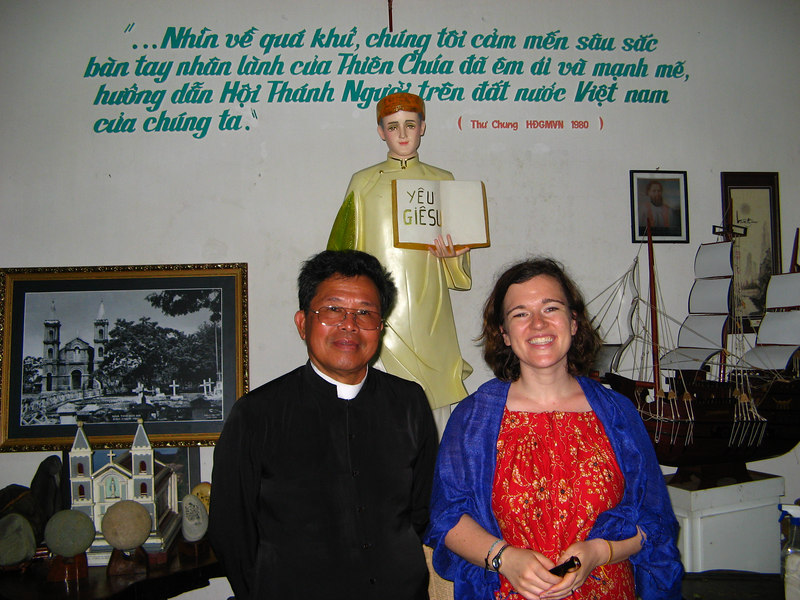 Sara with Rev Fr Anthony, pastor of Hoi An catholic church. We chatted about his visit to America a few years back which also included a visit to Seattle and Spokane! His biggest surprise? All the vietnamese nail salons. When we told him how much Americans will pay for a pedicure it made sense to him on why so many women go into the business.