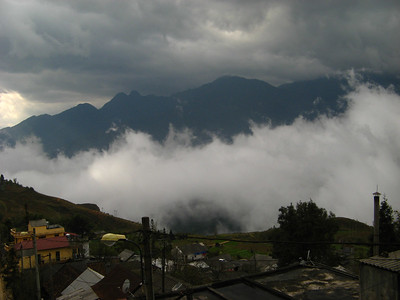 Clouds move around the mountaintop village