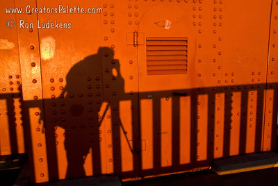 Self portrait Golden Gate Bridge at sunrise.