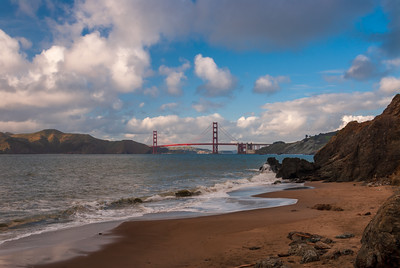 Golden Gate Bridge near sunset.  Photo shot from China Beach.