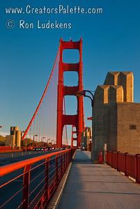 Golden Gate Bridge at sunrise.