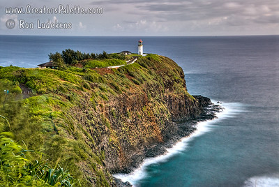 Kilauea Lighthouse on Island of Kauai - early morning.