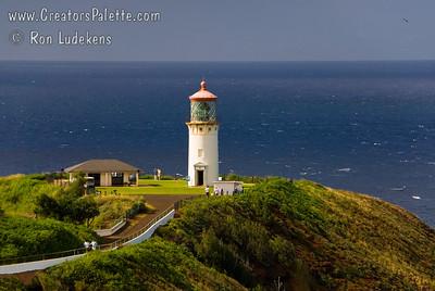 Kilauea Lighthouse on Island of Kauai - late afternoon.