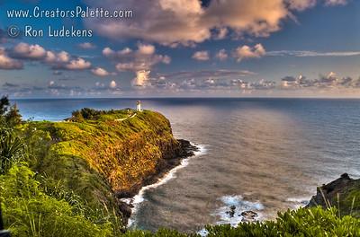 Kilauea Lighthouse on Island of Kauai - early morning.