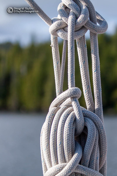 Rope on a sail boat.