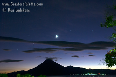 Guatemala Mission Trip - Day 4 - Monday, November 12, 2007 Sunset with moon and star over Lake Atitlan seen from our compound at Buenas-Nuevas in Panajachel, Guatemala.  San Pedro Volcano and city of San Pedro on far side of lake.