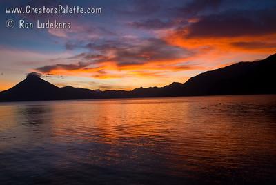 Guatemala Mission Trip - Day 3 -  Sunday, November 11, 2007 Sunset over Lake Atitlan.   San Pedro Volcano visable in silhouette.