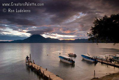 Sunset over Lake Atitlan from Panajachel, Guatemala.   San Pedro Volcano at far shore. Guatemala Mission Trip - Day 5 -  Tuesday, November 13, 2007