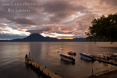 Sunset over Lake Atitlan from Panajachel, Guatemala.   San Pedro Volcano at far shore. Guatemala Mission Trip - Day 5 -  Tuesday, November 13, 2007