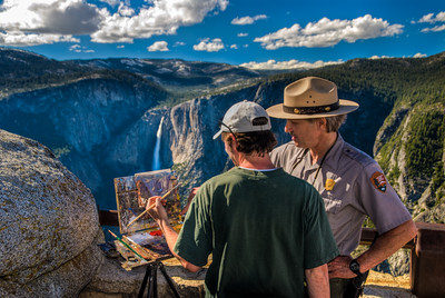 Painter James McGrew working on painting of Yosemite Falls (www.JamesMcGrewFineArt.com)