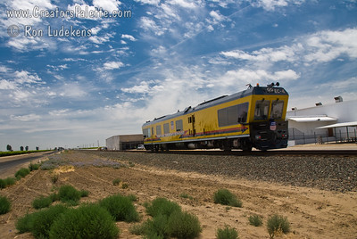 Union Pacific EC-4 track geometry car used for maintenance of tracks.  Photographed outside of Pixley, CA 6-2-2009.  Details of what this amazing car can do can be found at: EC-4