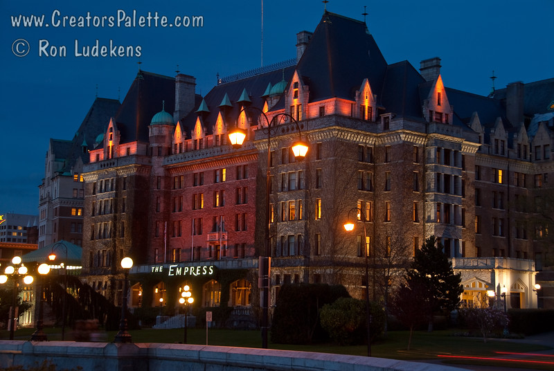 Empress Hotel in Victoria at night near the Inner Harbor.
