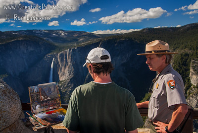 Painter James McGrew working on painting of Yosemite Falls (www.JamesMcGrewFineArt.com)