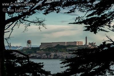 Alcatraz Island as seen from top of upper Fort Mason.