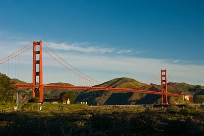 Golden Gate Bridge at sunrise as seen from Crissy Field.