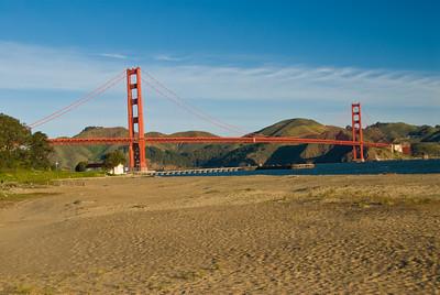 Golden Gate Bridge after sunrise as seen from Crissy Field.