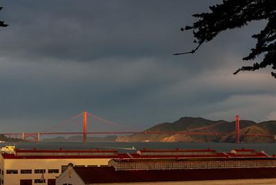 Fort Mason Center and Golden Gate Bridge as seen from upper Fort Mason.