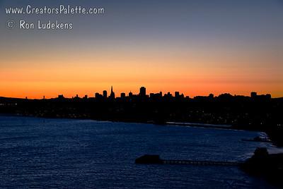 San Francisco sunrise skyline as seen from Golden Gate Bridge