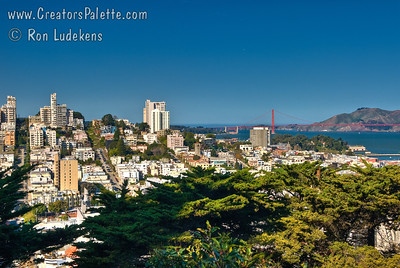 View from Telegraph Hill over North Beach to view Golden Gate Bridge and Lombard Street