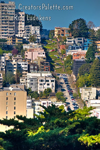 Lombard Street (Crookedist Street in the World) as seen from Telegraph Hill (Coit Tower)