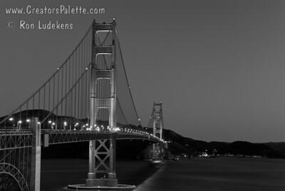 Golden Gate Bridge before sunrise.