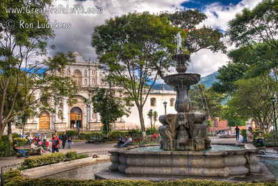Guatemala Mission Trip - Day 8 - Friday, November 16, 2007 Cathedral (Catedral)  in central Antigua Guatemala. Photo takenfrom Central Plaza.  Fountain and statue in foreground.