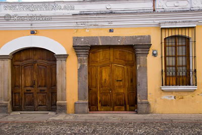 Guatemala Mission Trip - Day 8 - Friday, November 16, 2007    Houses and businesses in Antigua Guatemala.  A city full of colorful buildings and doors.
