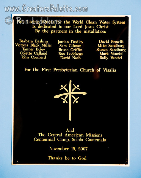 Close up of the dedication plaque.  <br /> Guatemala Mission Trip - Day 7 - Thursday, November 15, 2007.  Dedication Day.