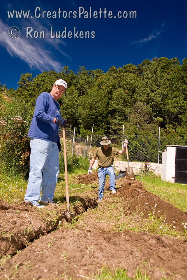 The projects come with some real labor.  Digging the ditch for the incoming water pipes for some of us desk jockeys was strenuous work at approximately 7,500 foot elevation.<br /> Guatemala Mission Trip - Day 4 - Monday, November 12, 2007