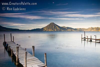 Guatemala Mission Trip - Day 4 - Monday, November 12, 2007 Sunrise and early morning photo of Lake Atitlan at Panajachel.  San Pedro Volcano in background.