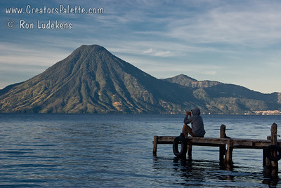Another photographer capturing the sunrise and early morning views along shore of Lake Atitlan in Panajachel.  San Pedro Volcano across the lake.  City of San Pedro to right of volcano. Guatemala Mission Trip - Day 3 -  Sunday, November 11, 2007