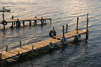 Boat docks in the early morning light along shore of Lake Atitlan in Panajachel.    Guatemala Mission Trip - Day 3 -  Sunday, November 11, 2007