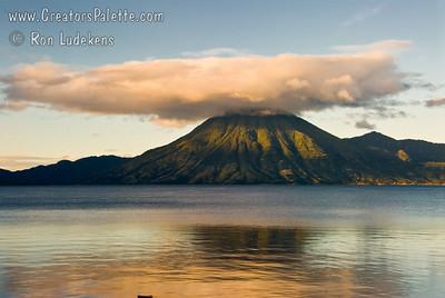 Guatemala Mission Trip - Day 7 - Thursday, November 15, 2007 Sunrise on Lake Atitlan in Panajachel, Guatemala.   San Pedro Volcano on far shore.