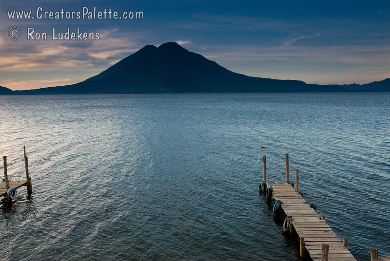 Sunrise along shore of Lake Atitlan in Panajachel.   Two volcanoes - Toliman in front with Atitlan behind it.<br /> Guatemala Mission Trip - Day 3 -  Sunday, November 11, 2007