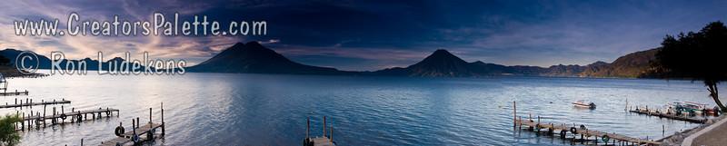 Sunrise along shore of Lake Atitlan in Panajachel.   Boat docks. Guatemala Mission Trip - Day 3 -  Sunday, November 11, 2007