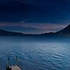 Sunrise along shore of Lake Atitlan in Panajachel.   Boat docks.<br /> Guatemala Mission Trip - Day 3 -  Sunday, November 11, 2007