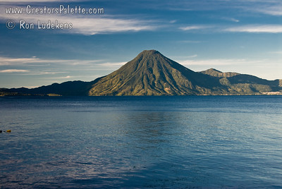 Guatemala Mission Trip - Day 4 - Monday, November 12, 2007 Sunrise and early morning photo of Lake Atitlan at Panajachel.  San Pedro Volcano in background.
