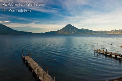 Sunrise and Early Morning along shore of Lake Atitlan in Panajachel.   San Pedro Volcano across the lake.  Flank of Toliman volcano on left. Guatemala Mission Trip - Day 3 -  Sunday, November 11, 2007