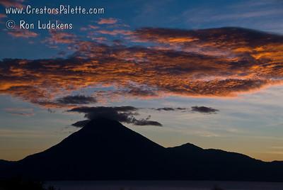 Guatemala Mission Trip - Day 4 - Monday, November 12, 2007 Sunset over Lake Atitlan from Panajachel, Guatemala.  San Pedro Volcano.
