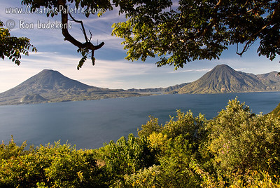 Guatemala Mission Trip - Day 4 - Monday, November 12, 2007 We stopped at a lookout above Panajachel to view Lake Atitlan and surrounding volcanoes.  Toliman Volcano at left, San Pedro Volcano at right.