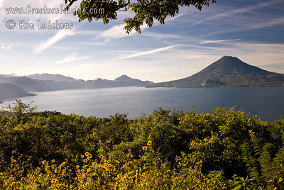 Guatemala Mission Trip - Day 4 - Monday, November 12, 2007 We stopped at a lookout above Panajachel to view Lake Atitlan and surrounding volcanoes.  Toliman Volcano on right.