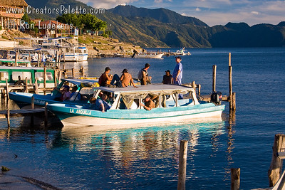 Guatemala Mission Trip - Day 6 - Wednesday, November 14, 2007 Water taxi loading up for tour in late afternoon on Lake Atitlan in Panajachel, Guatemala.
