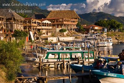 Guatemala Mission Trip - Day 6 - Wednesday, November 14, 2007 Later afternoon sun on local restarants and resort by Lake Atitlan in Panajachel, Guatemala.