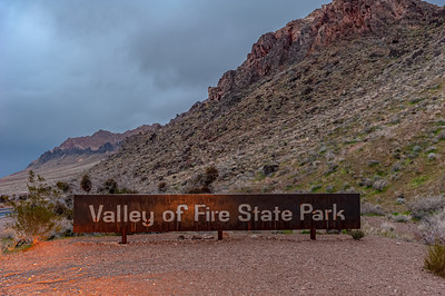 West entrance sign to Valley of Fire State Park