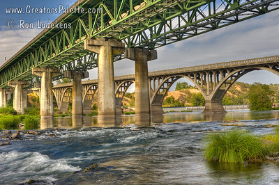 I-5 and Hwy 99 Bridges over North Umpqua River near Winchester, Oregon